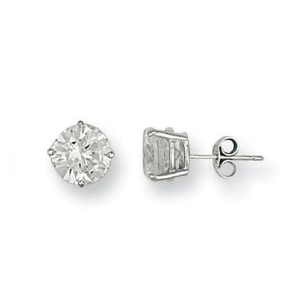 9ct White Gold 8mm Claw Set Cubic Zirconia Stud Earrings