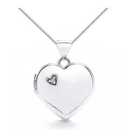 9ct White Gold Diamond Heart Locket