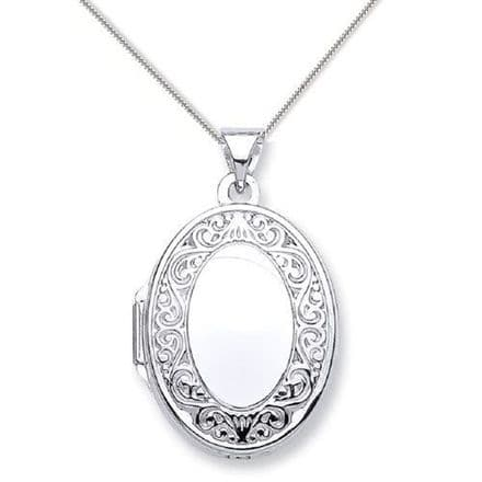 9ct White Gold Edge Design Oval Locket