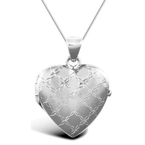 9ct White Gold Flower Design Heart Locket