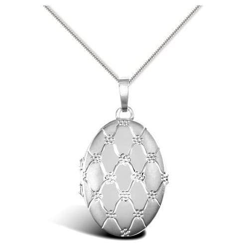 9ct White Gold Four Picture Oval Family Locket
