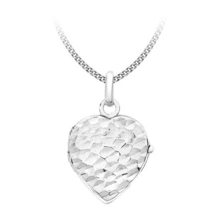 9ct White Gold Hammered Heart Locket Pendant