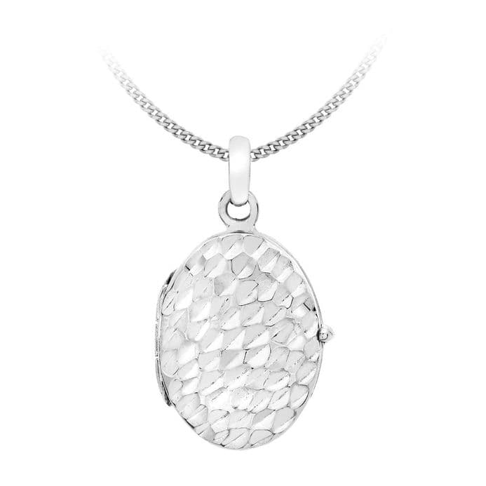 9ct White Gold Hammered Oval Locket Pendant