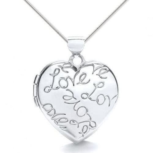 9ct White Gold Love Engraved Heart Locket