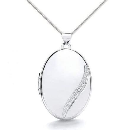 9ct White Gold Oval Diamond Detail Locket