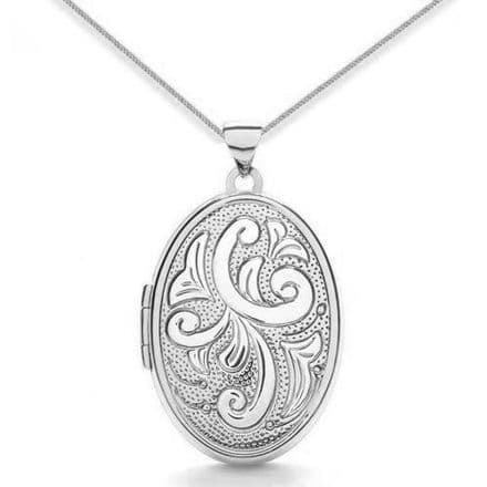 9ct White Gold Patterned Oval Locket