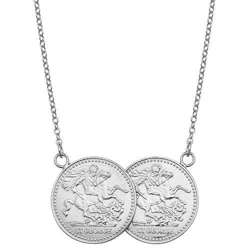 9ct White Gold St George Full Two Coin Holly Necklace