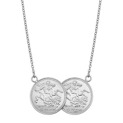9ct White Gold St George Half Two Coin Holly Necklace