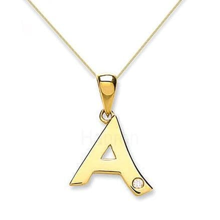 9ct Yellow Gold 0.01ct Diamond Initial Pendant