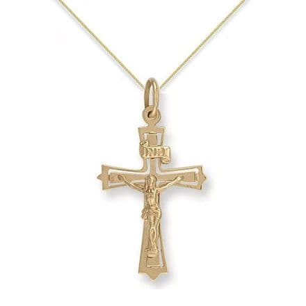 9ct Yellow Gold 1.3g Cut Out Crucifix Pendant