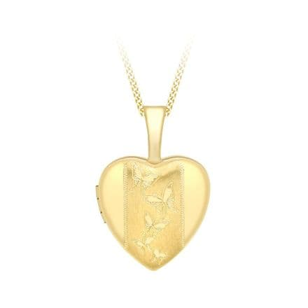 9ct Yellow Gold 12mm Etched Butterfly Detail Heart Locket