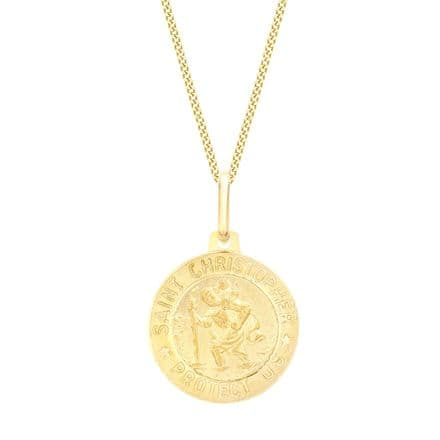9ct Yellow Gold 15mm St Christopher Round Satin Pendant