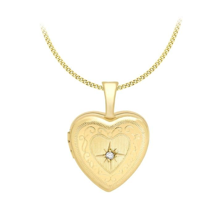 9ct Yellow Gold 18mm Diamond Set Etched Heart Locket
