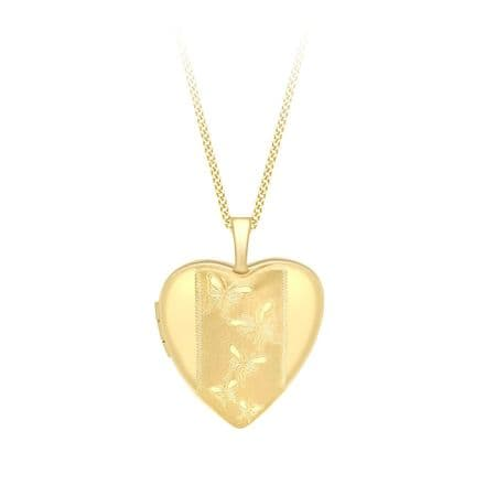 9ct Yellow Gold 20mm Etched Butterfly Detail Heart Locket