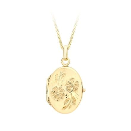 9ct Yellow Gold 28mm Daisy Oval Locket