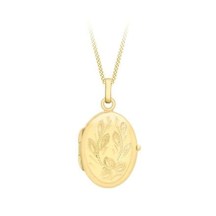 9ct Yellow Gold 28mm Flower Oval Locket