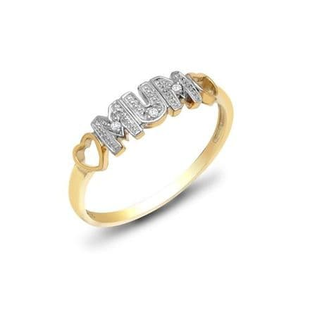 9ct Yellow Gold Diamond Mum Heart Ring