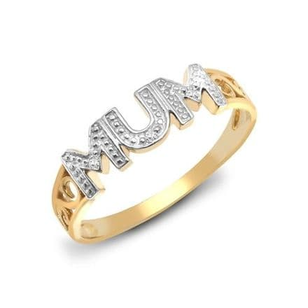 9ct Yellow Gold Diamond Mum Ring