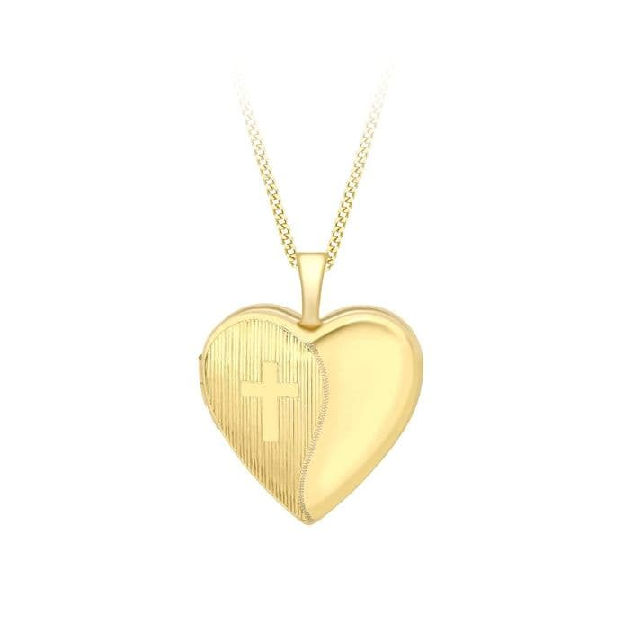 9ct Yellow Gold Etched Cross Detail Heart Locket