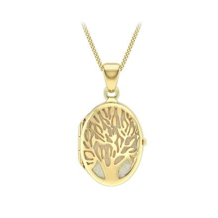9ct Yellow Gold Fabric-Backed Tree Of Life Oval Locket
