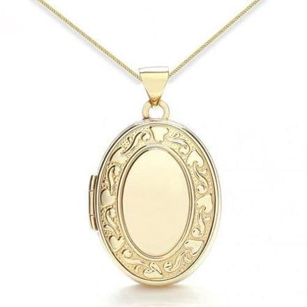 9ct Yellow Gold Floral Edged Oval Locket