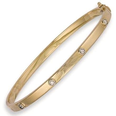 9ct Yellow Gold Hollow CZ Oval Bangle