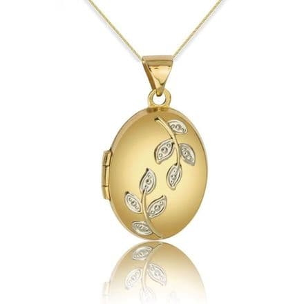 9ct Yellow Gold Leaves Detail Oval Locket