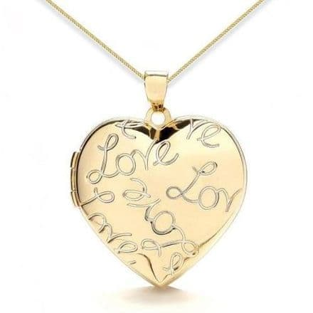 9ct Yellow Gold Love Engraved Heart Locket