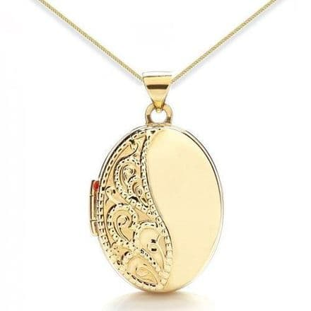 9ct Yellow Gold Oval Engraved Locket