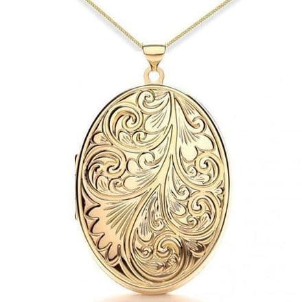 9ct Yellow Gold Oval Floral Engraved Family Locket