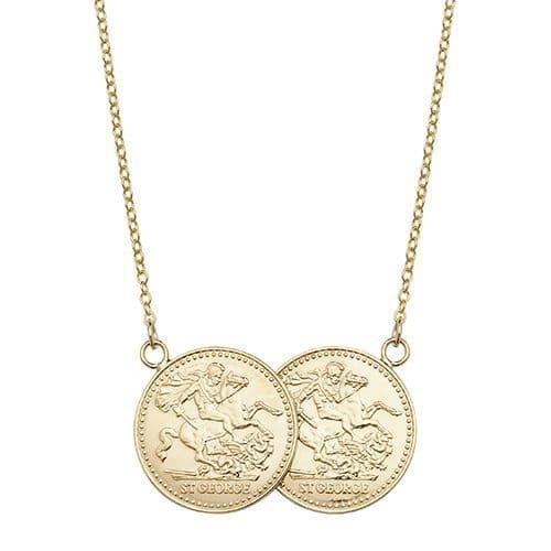 9ct Yellow Gold St George Half Two Coin Holly Necklace