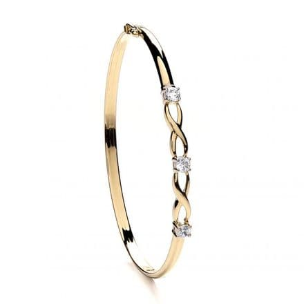 9ct Yellow Gold Three Cubic Zirconia Claw Set Bangle