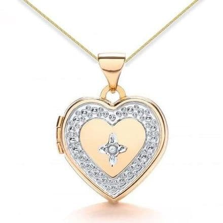 9ct Yellow Gold & White Gold Diamond Set Heart Locket