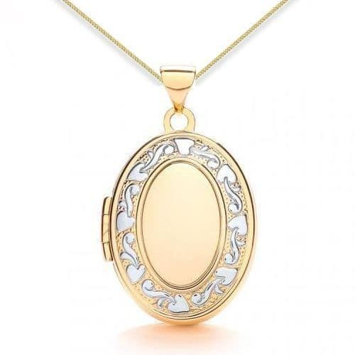 9ct Yellow Gold & White Gold Floral Edged Oval Family Locket
