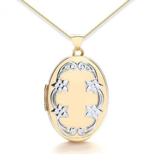9ct Yellow Gold & White Gold Floral Embossed Oval Locket