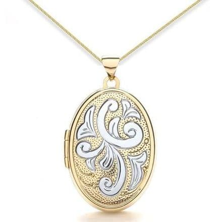 9ct Yellow Gold & White Gold Floral Oval Family Locket