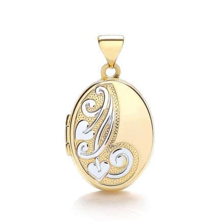 9ct Yellow Gold & White Gold Floral Scroll Oval Locket