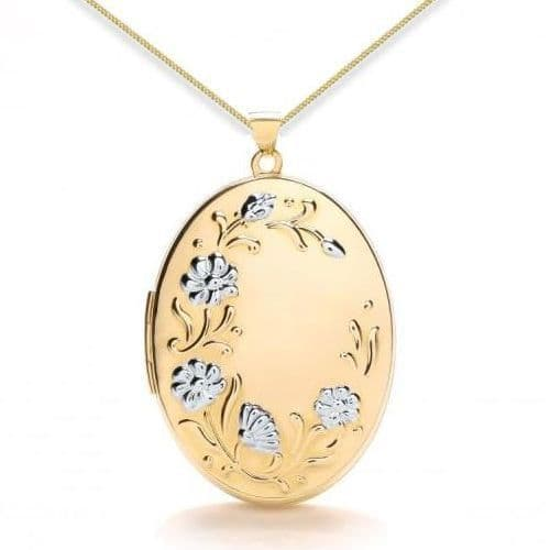 9ct Yellow Gold & White Gold Flower Embossed Oval Locket