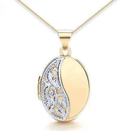 9ct Yellow Gold & White Gold Half Embossed Oval Locket