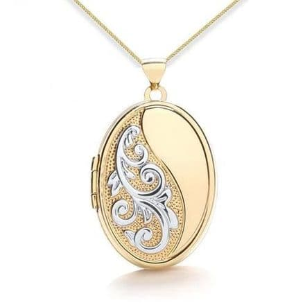 9ct Yellow Gold & White Gold Half Embossed Scroll Oval Locket