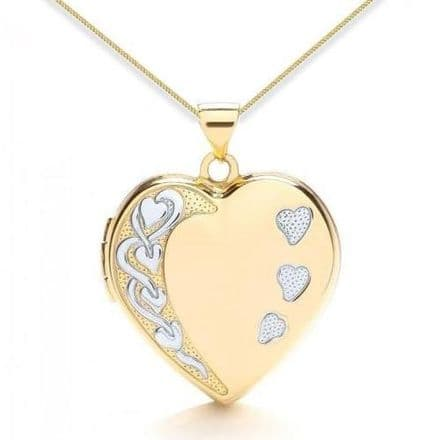 9ct Yellow Gold & White Gold Heart Detail Heart Family Locket