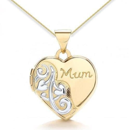 9ct Yellow Gold & White Gold Mum Heart Locket