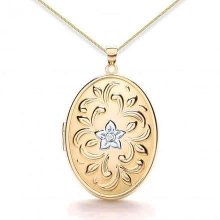 9ct Yellow Gold & White Gold One Flower Embossed Oval Locket