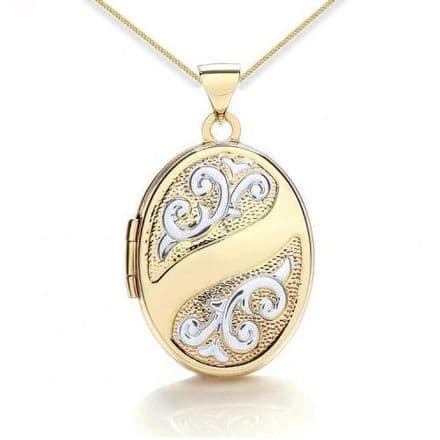 9ct Yellow Gold & White Gold Scroll Embossed Oval Locket