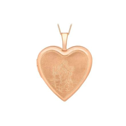 9ct Rose Gold 25mm Etched St Christopher Heart Locket