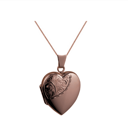9ct Rose Gold Half Hand Engraved Heart Locket