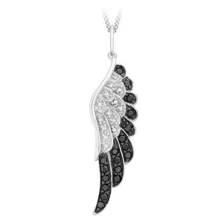 9ct White Gold 0.36ct Black & White Diamond Angel Wing Necklace
