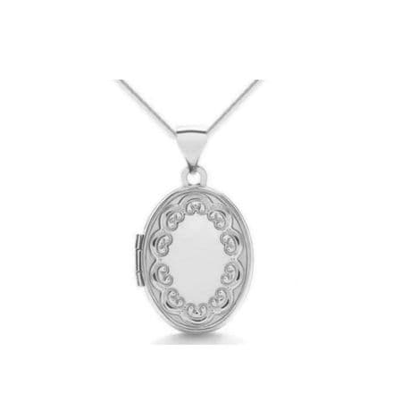 9ct White Gold 17mm Embossed Border Oval Locket