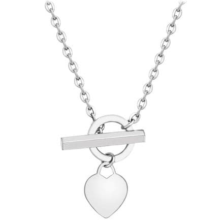 9ct White Gold 18 Inch Belcher Chain Heart Charm Squared T-Bar Necklace