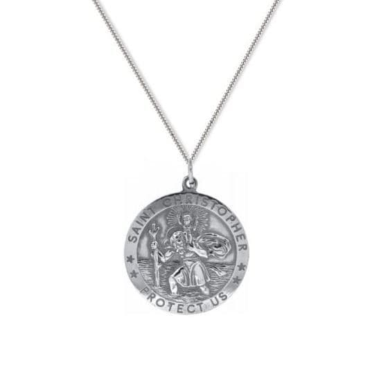 9ct White Gold 24mm St Christopher Round Pendant